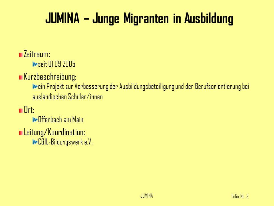 Folie Nr. 3 JUMINA Zeitraum: seit 01.09.2005 Kurzbeschreibung: ein Projekt zur Verbesserung der Ausbildungsbeteiligung und der Berufsorientierung bei