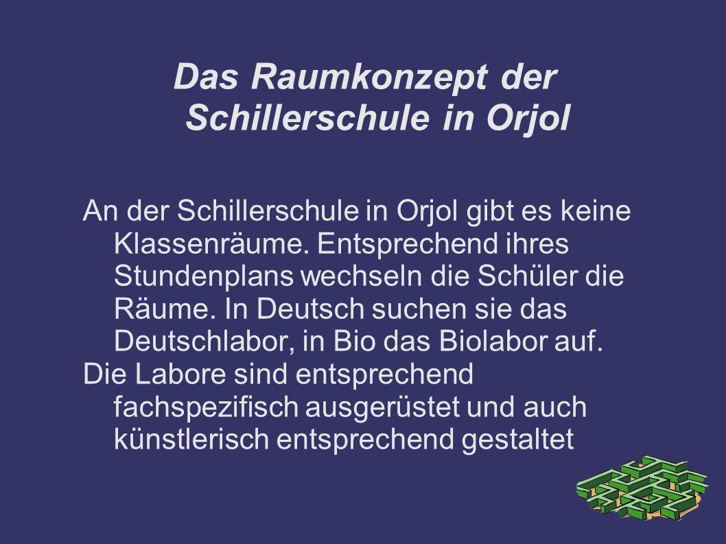 Das Raumkonzept der Schillerschule in Orjol An der Schillerschule in Orjol gibt es keine Klassenräume. Entsprechend ihres Stundenplans wechseln die Sc