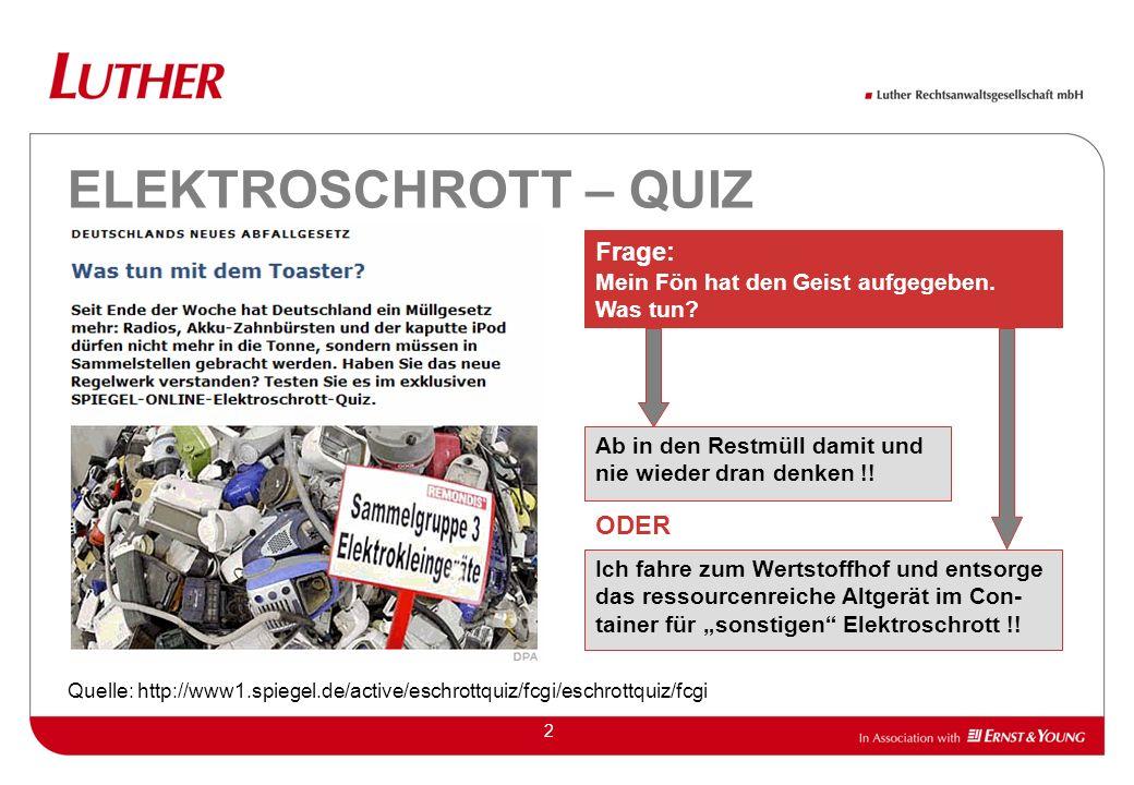 2 ELEKTROSCHROTT – QUIZ Quelle: http://www1.spiegel.de/active/eschrottquiz/fcgi/eschrottquiz/fcgi Ich fahre zum Wertstoffhof und entsorge das ressourc