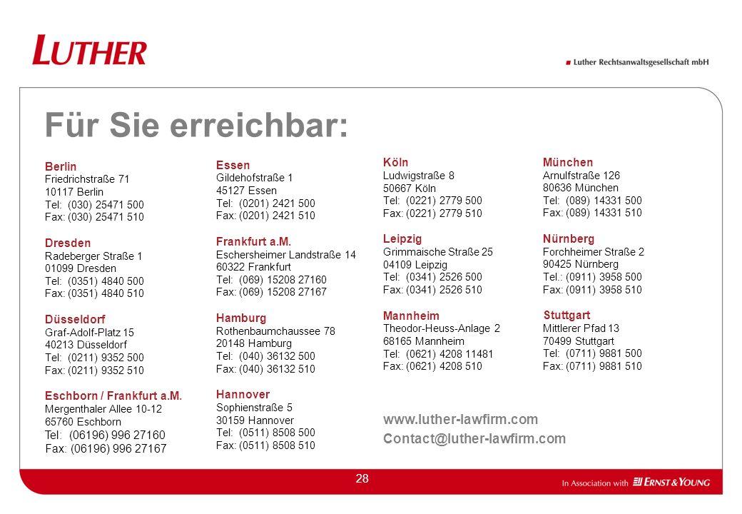 28 Für Sie erreichbar: Berlin Friedrichstraße 71 10117 Berlin Tel: (030) 25471 500 Fax: (030) 25471 510 Dresden Radeberger Straße 1 01099 Dresden Tel: