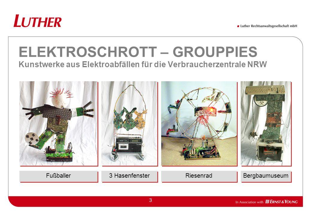 3 ELEKTROSCHROTT – GROUPPIES Kunstwerke aus Elektroabfällen für die Verbraucherzentrale NRW Fußballer 3 Hasenfenster Bergbaumuseum Riesenrad
