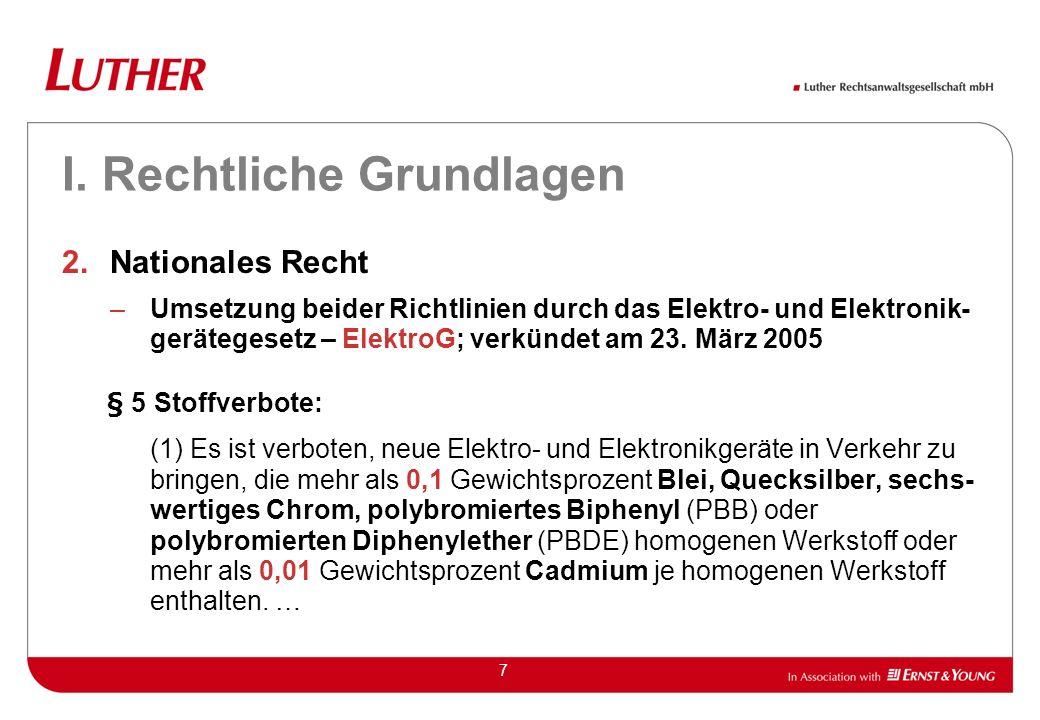 8 I.Rechtliche Grundlagen 3.Inkrafttreten der Stoffverbote Die in Art.