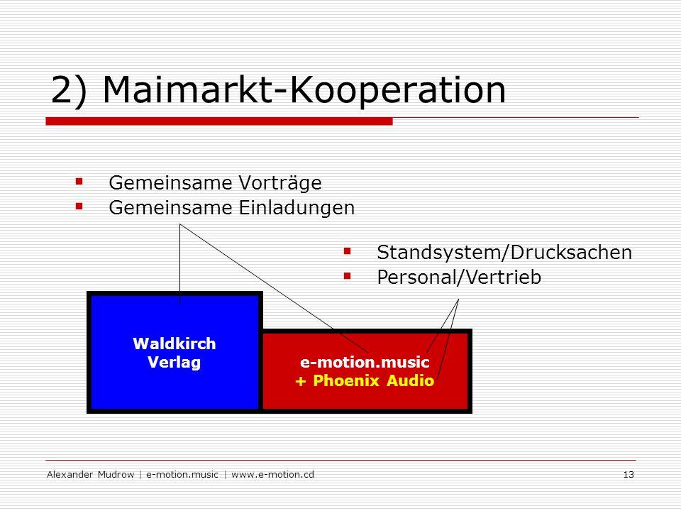 Alexander Mudrow | e-motion.music | www.e-motion.cd13 2) Maimarkt-Kooperation Gemeinsame Vorträge Gemeinsame Einladungen e-motion.music + Phoenix Audio Waldkirch Verlag Standsystem/Drucksachen Personal/Vertrieb