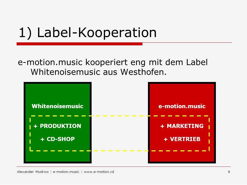 Alexander Mudrow | e-motion.music | www.e-motion.cd9 1) Label-Kooperation e-motion.music kooperiert eng mit dem Label Whitenoisemusic aus Westhofen.
