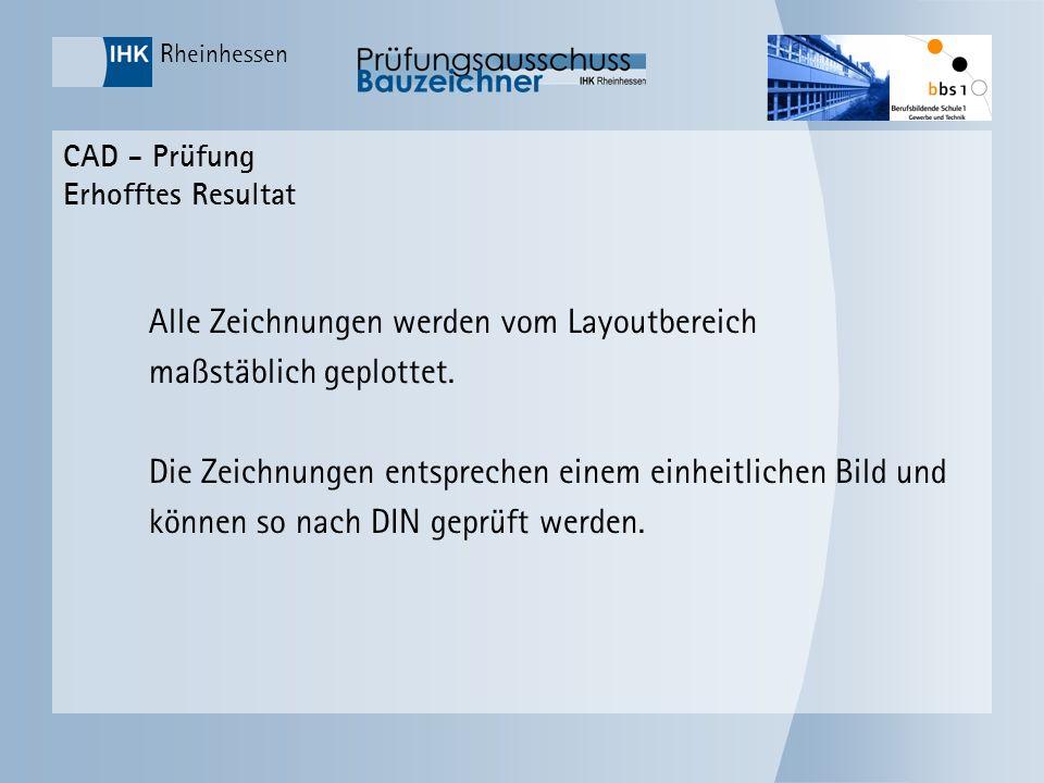Rheinhessen CAD - Prüfung Erhofftes Resultat Alle Zeichnungen werden vom Layoutbereich maßstäblich geplottet. Die Zeichnungen entsprechen einem einhei