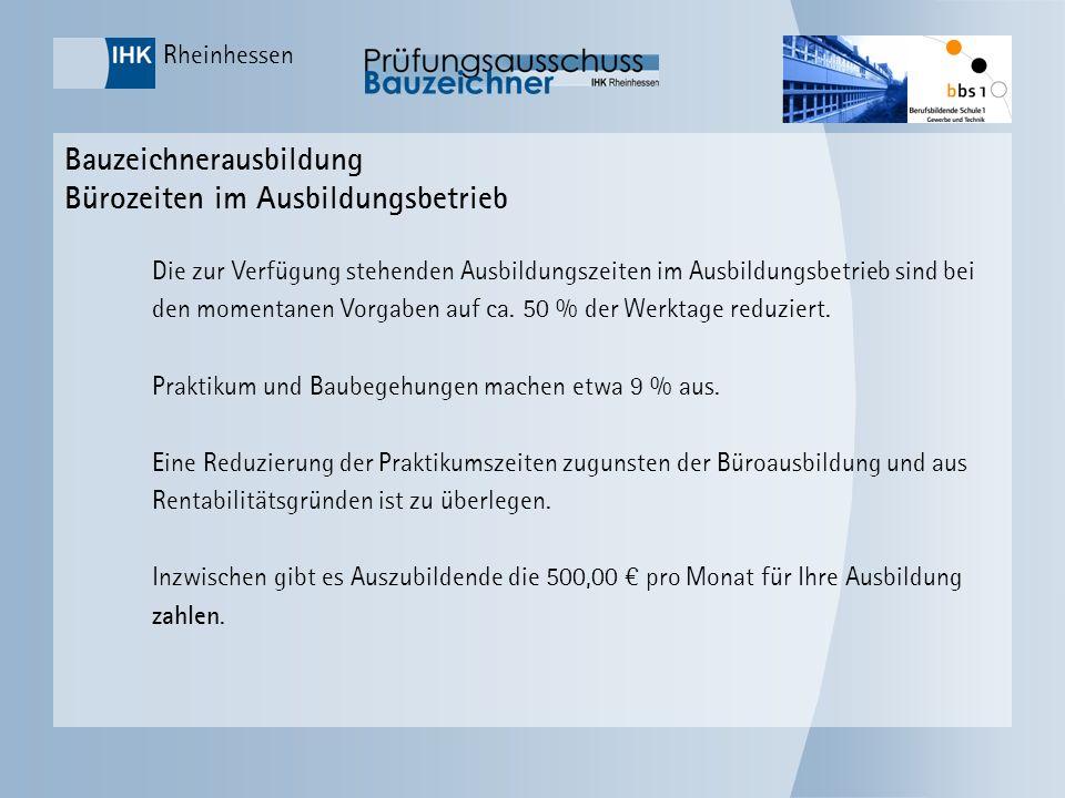 Rheinhessen Bauzeichnerausbildung Bürozeiten im Ausbildungsbetrieb Die zur Verfügung stehenden Ausbildungszeiten im Ausbildungsbetrieb sind bei den mo