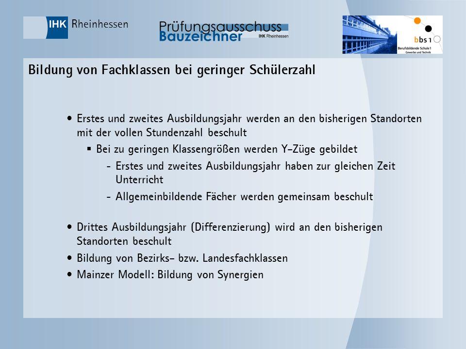 Rheinhessen Bildung von Fachklassen bei geringer Schülerzahl Erstes und zweites Ausbildungsjahr werden an den bisherigen Standorten mit der vollen Stu