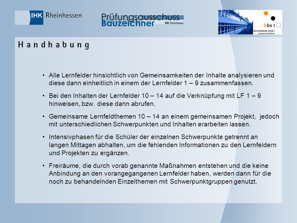 Rheinhessen H a n d h a b u n g Alle Lernfelder hinsichtlich von Gemeinsamkeiten der Inhalte analysieren und diese dann einheitlich in einem der Lernf