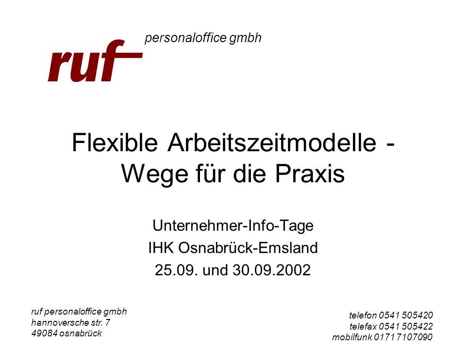 Flexible Arbeitszeitmodelle - Wege für die Praxis Unternehmer-Info-Tage IHK Osnabrück-Emsland 25.09. und 30.09.2002 ruf personaloffice gmbh hannoversc