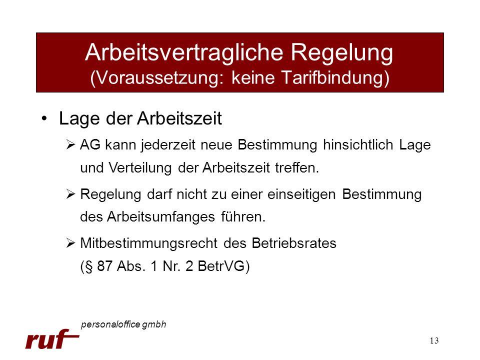 13 Arbeitsvertragliche Regelung (Voraussetzung: keine Tarifbindung) personaloffice gmbh Lage der Arbeitszeit AG kann jederzeit neue Bestimmung hinsich