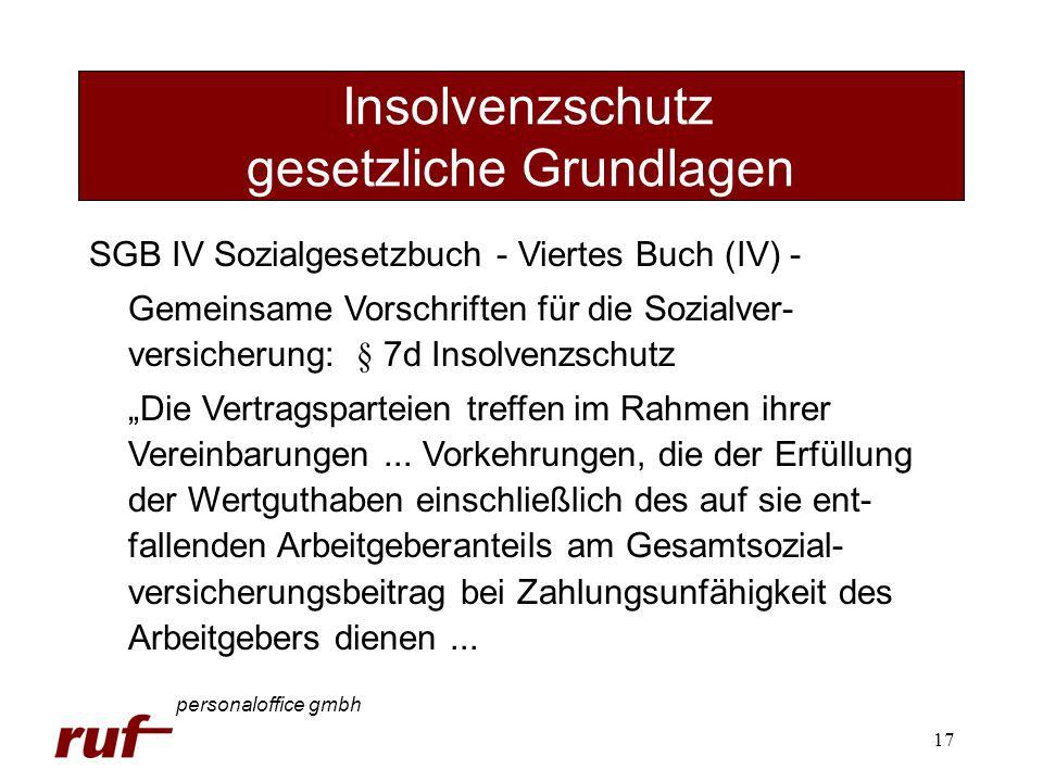 17 Insolvenzschutz gesetzliche Grundlagen personaloffice gmbh SGB IV Sozialgesetzbuch - Viertes Buch (IV) - Gemeinsame Vorschriften für die Sozialver-