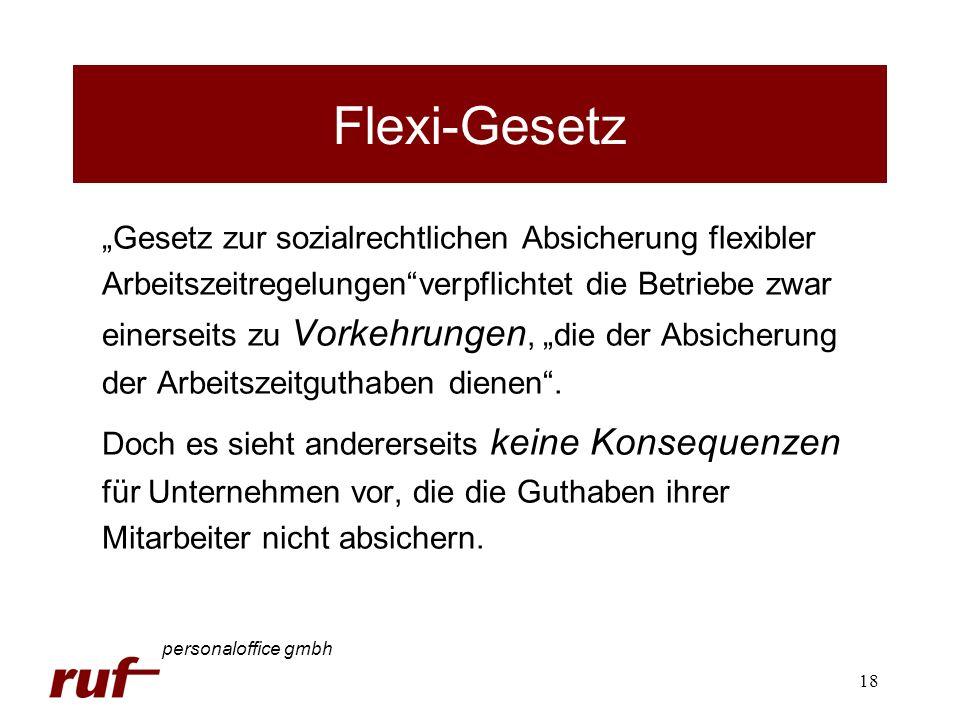 18 Flexi-Gesetz Gesetz zur sozialrechtlichen Absicherung flexibler Arbeitszeitregelungenverpflichtet die Betriebe zwar einerseits zu Vorkehrungen, die