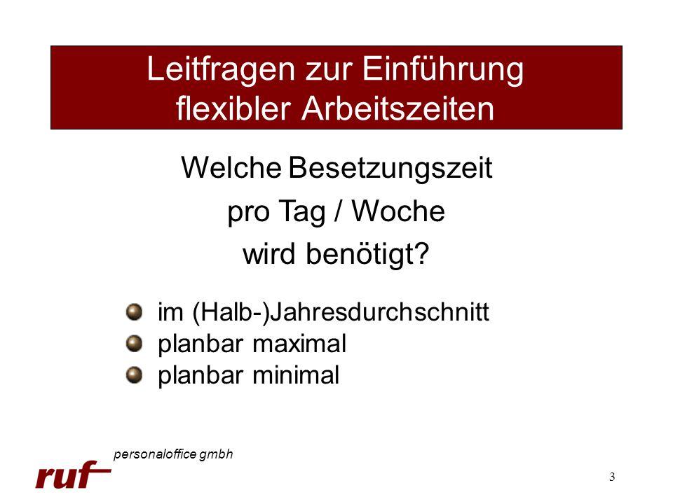 3 Leitfragen zur Einführung flexibler Arbeitszeiten personaloffice gmbh Welche Besetzungszeit pro Tag / Woche wird benötigt? im (Halb-)Jahresdurchschn