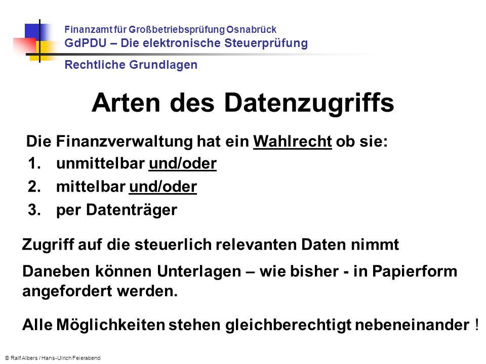 Prüfungsablauf Seit dem 01.01.2002 erzeugte, digitale, steuerlich relevante Daten sind 10 Jahre / 6 Jahre Jederzeit verfügbar, unverzüglich lesbar und maschinell auswertbar (auch nach Systemwechsel) d.h.: keine Bilddateien, kein Mikrofilm, kein PDF-Format vorzuhalten Finanzamt für Großbetriebsprüfung Osnabrück GdPDU – Die elektronische Steuerprüfung © Ralf Albers / Hans-Ulrich Feierabend