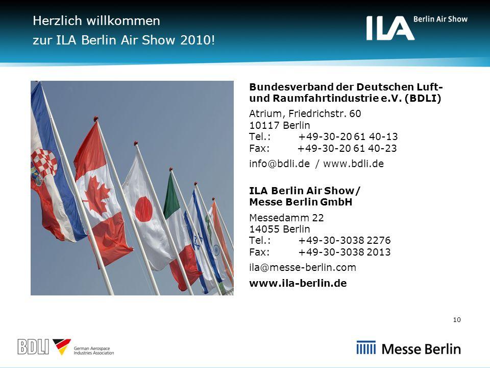 Herzlich willkommen zur ILA Berlin Air Show 2010.