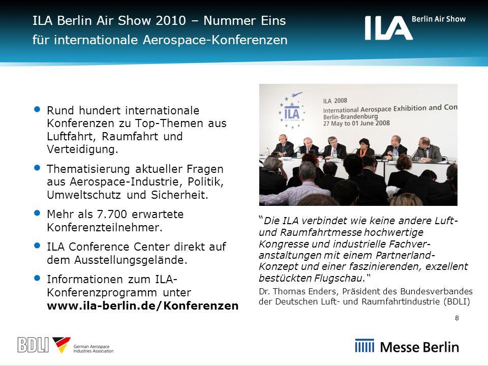 ILA Berlin Air Show 2010 – Nummer Eins für internationale Aerospace-Konferenzen Rund hundert internationale Konferenzen zu Top-Themen aus Luftfahrt, Raumfahrt und Verteidigung.