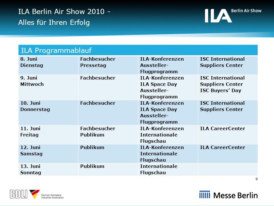 ILA Berlin Air Show 2010 - Alles für Ihren Erfolg ILA Programmablauf 8.