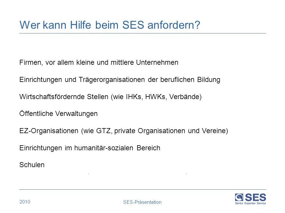 2010 SES-Präsentation Firmen, vor allem kleine und mittlere Unternehmen Einrichtungen und Trägerorganisationen der beruflichen Bildung Wirtschaftsförd
