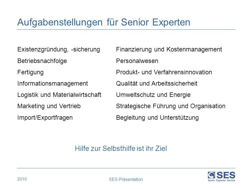2010 SES-Präsentation Existenzgründung, -sicherung Betriebsnachfolge Fertigung Informationsmanagement Logistik und Materialwirtschaft Marketing und Ve