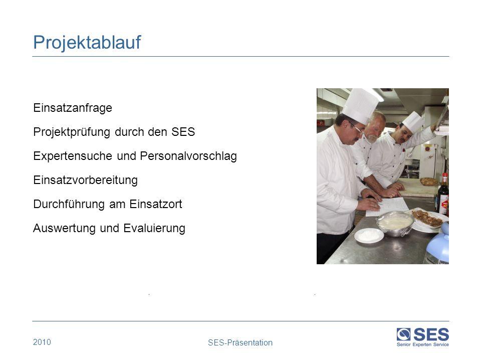 2010 SES-Präsentation Projektablauf Einsatzanfrage Projektprüfung durch den SES Expertensuche und Personalvorschlag Einsatzvorbereitung Durchführung a