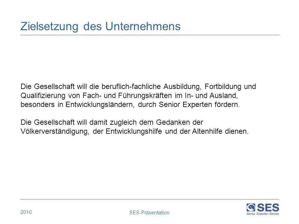 2010 SES-Präsentation Zielsetzung des Unternehmens Die Gesellschaft will die beruflich-fachliche Ausbildung, Fortbildung und Qualifizierung von Fach-