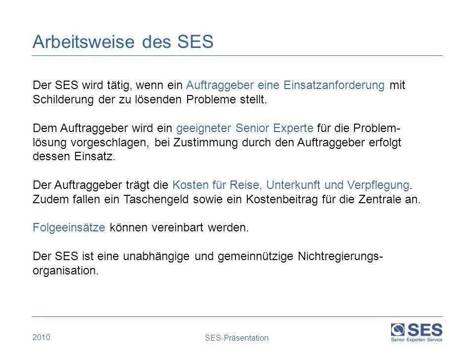 2010 SES-Präsentation Der SES wird tätig, wenn ein Auftraggeber eine Einsatzanforderung mit Schilderung der zu lösenden Probleme stellt. Dem Auftragge