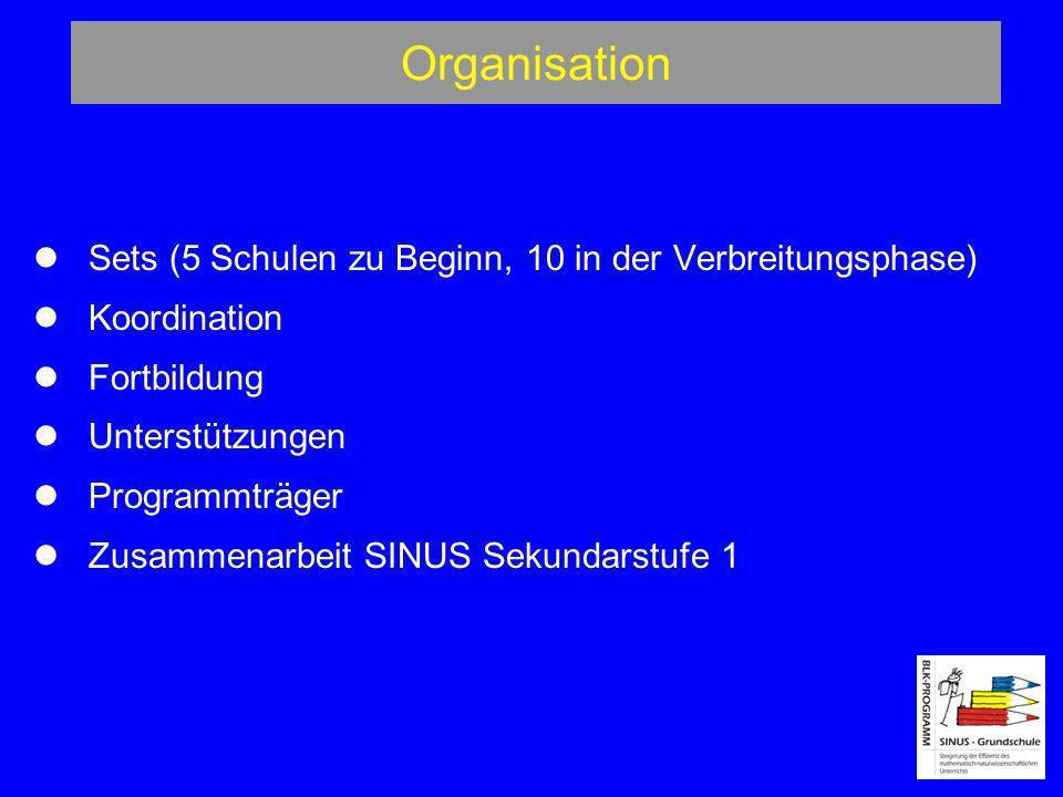Organisation Sets (5 Schulen zu Beginn, 10 in der Verbreitungsphase) Koordination Fortbildung Unterstützungen Programmträger Zusammenarbeit SINUS Seku