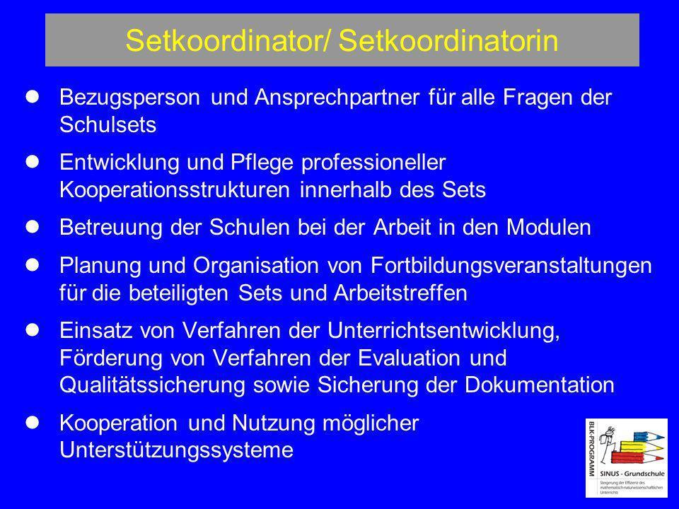 Setkoordinator/ Setkoordinatorin Bezugsperson und Ansprechpartner für alle Fragen der Schulsets Entwicklung und Pflege professioneller Kooperationsstr