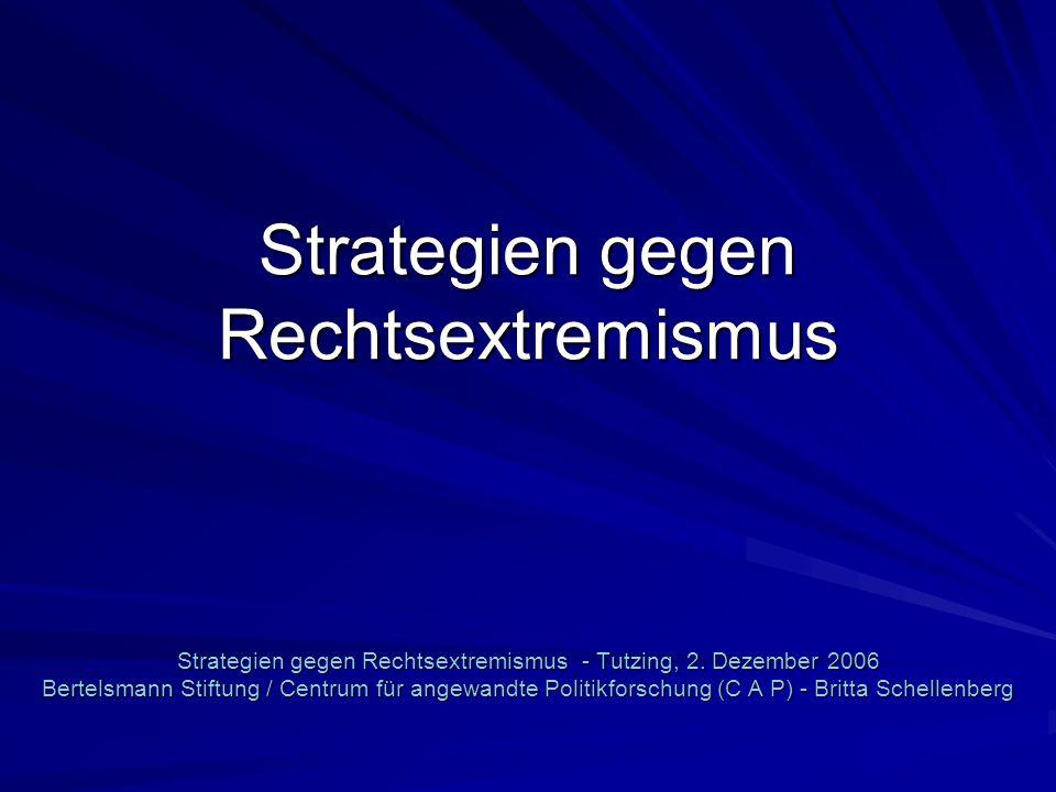 Strategien gegen Rechtsextremismus Strategien gegen Rechtsextremismus - Tutzing, 2. Dezember 2006 Bertelsmann Stiftung / Centrum für angewandte Politi