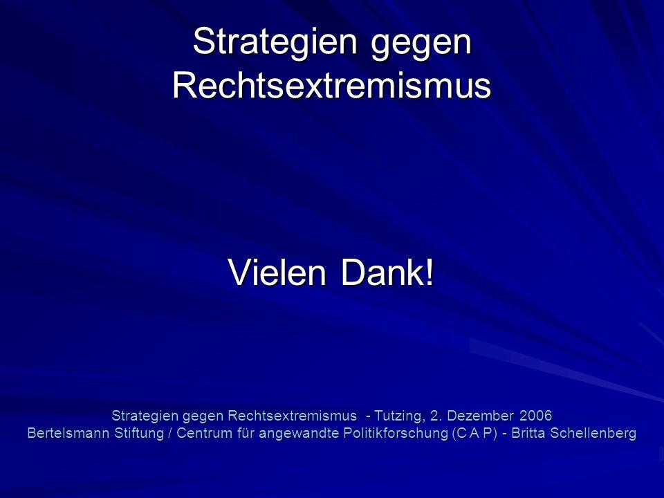 Strategien gegen Rechtsextremismus Vielen Dank! Strategien gegen Rechtsextremismus - Tutzing, 2. Dezember 2006 Bertelsmann Stiftung / Centrum für ange