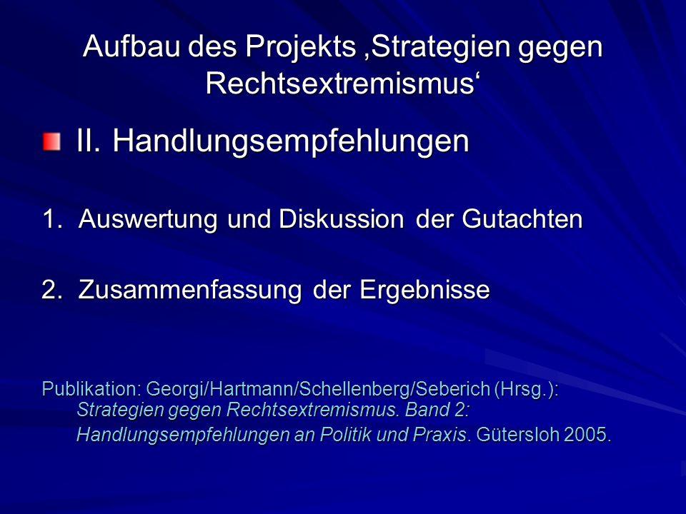 Aufbau des Projekts Strategien gegen Rechtsextremismus II. Handlungsempfehlungen 1. Auswertung und Diskussion der Gutachten 2. Zusammenfassung der Erg