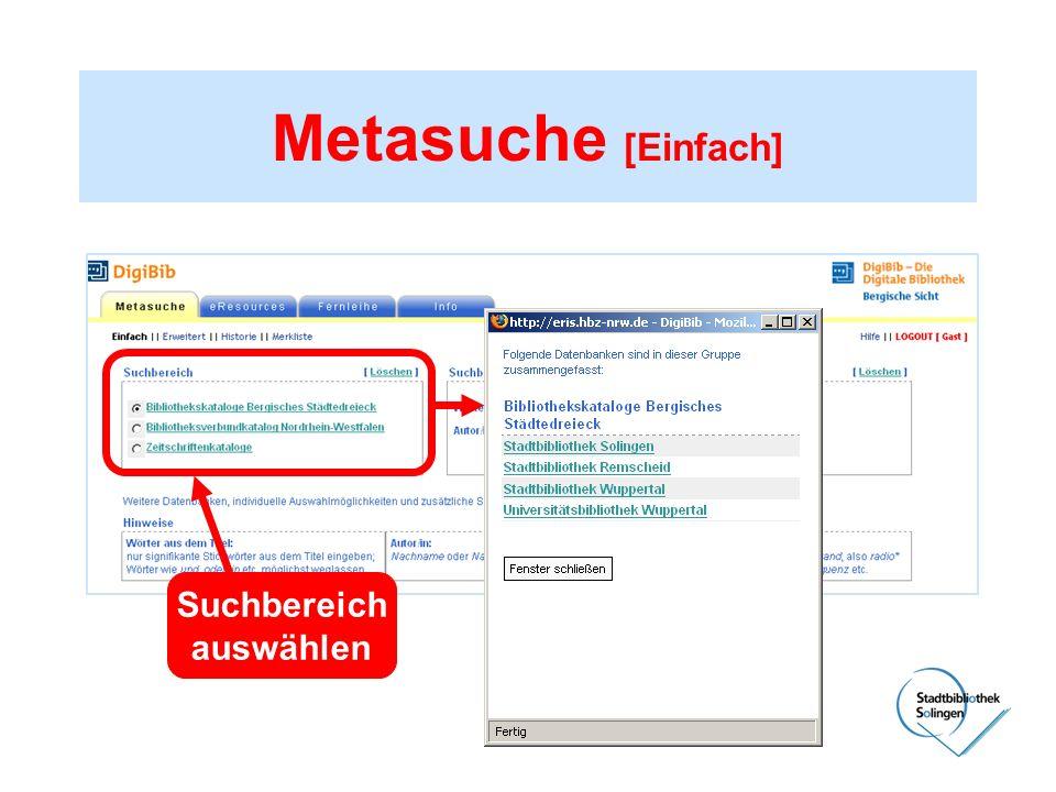 Metasuche [Einfach] Suchbereich auswählen