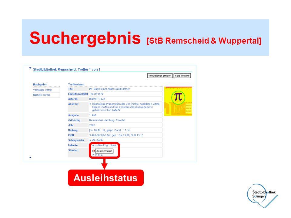 Suchergebnis [StB Remscheid & Wuppertal] Ausleihstatus