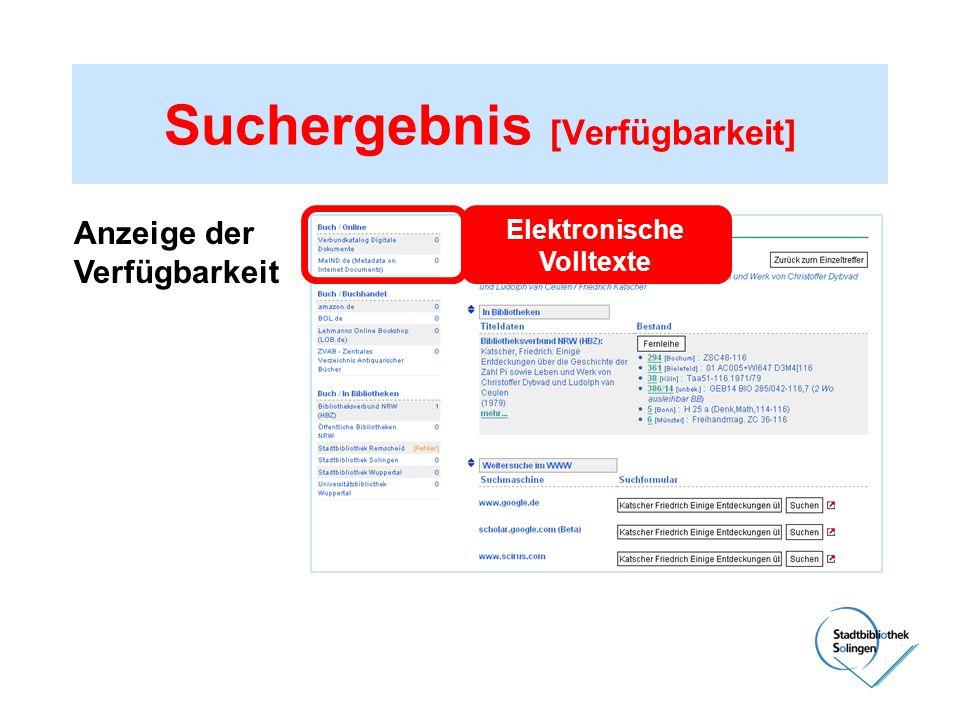 Suchergebnis [Verfügbarkeit] Anzeige der Verfügbarkeit Elektronische Volltexte