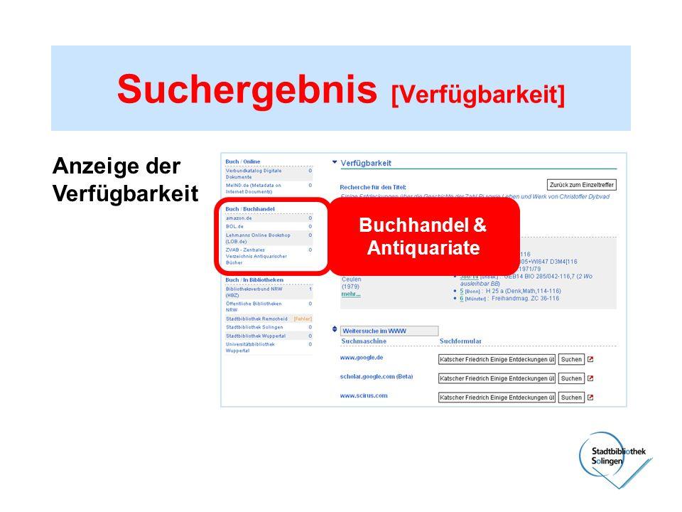 Suchergebnis [Verfügbarkeit] Anzeige der Verfügbarkeit Buchhandel & Antiquariate