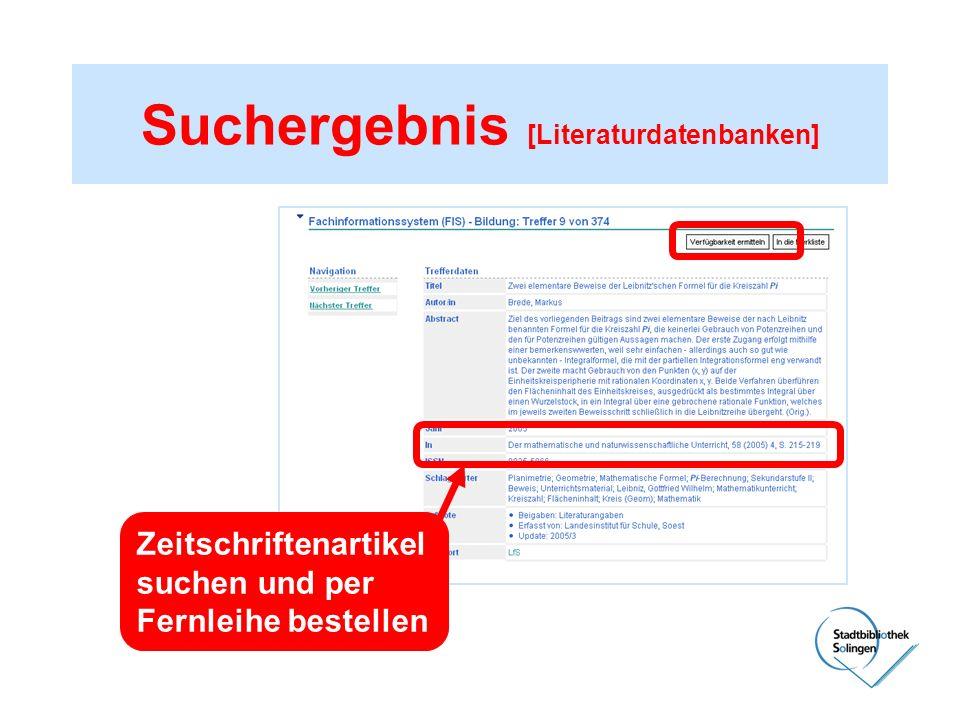 Suchergebnis [Literaturdatenbanken] Zeitschriftenartikel suchen und per Fernleihe bestellen