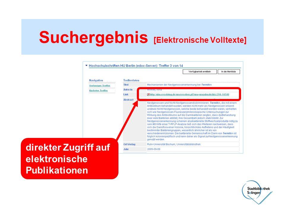 Suchergebnis [Elektronische Volltexte] direkter Zugriff auf elektronische Publikationen