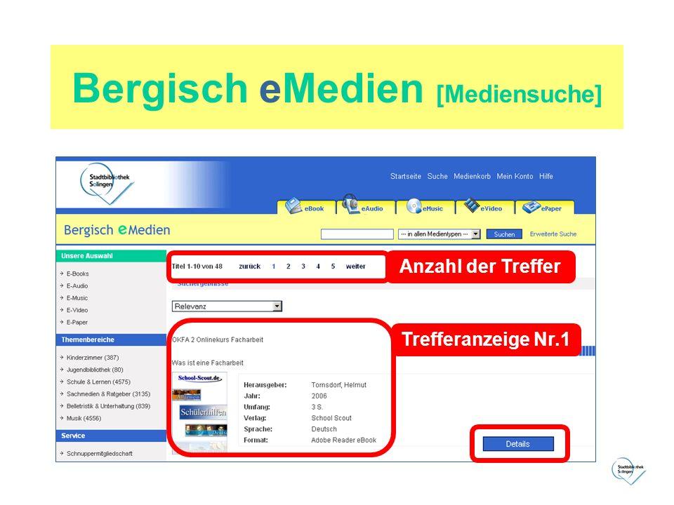 Bergisch eMedien [Mediensuche] Anzahl der Treffer Trefferanzeige Nr.1