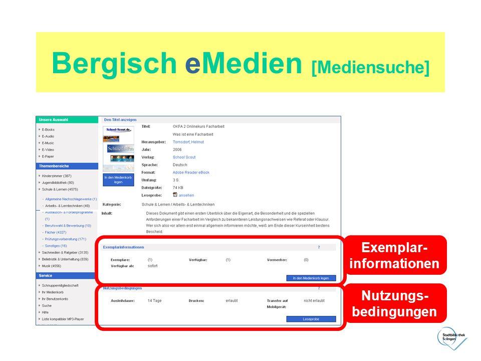 Bergisch eMedien [Mediensuche] Exemplar- informationen Nutzungs- bedingungen