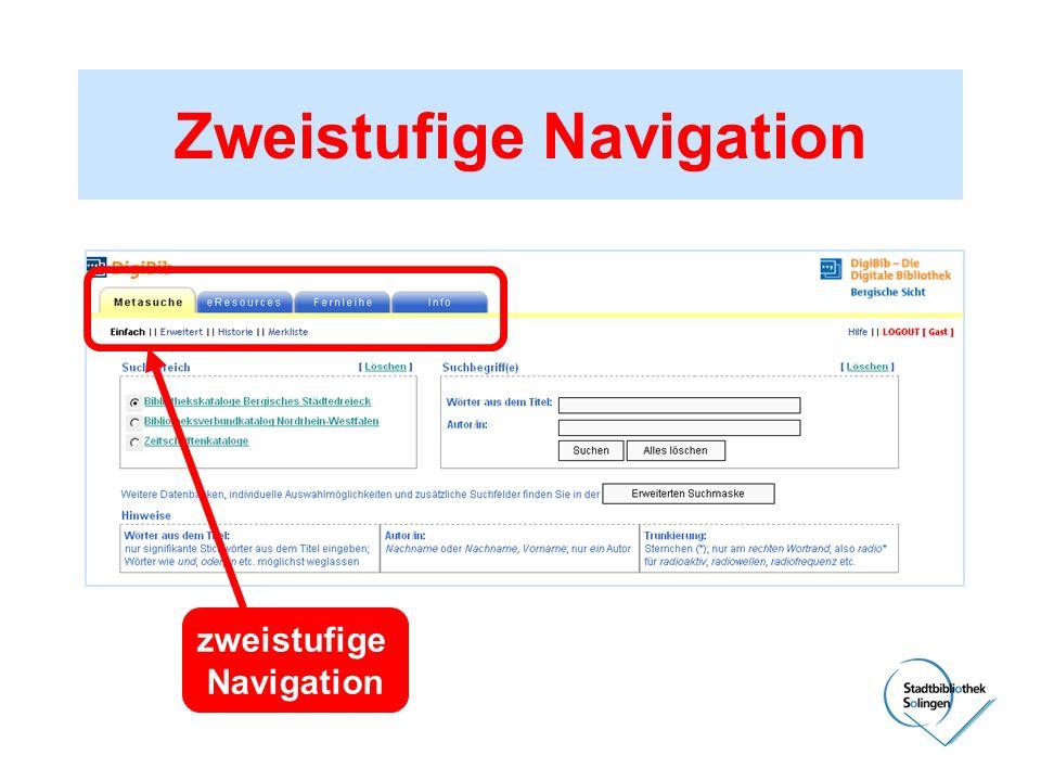 Zweistufige Navigation zweistufige Navigation