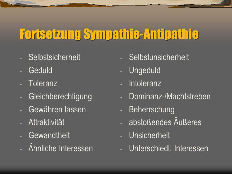 Wie werden Sympathie und Antipathie mobilisiert? Sympathie wird eher mobilisiert durch: - Anpassung - Charisma - Freundlichkeit - Höflichkeit - Gelass