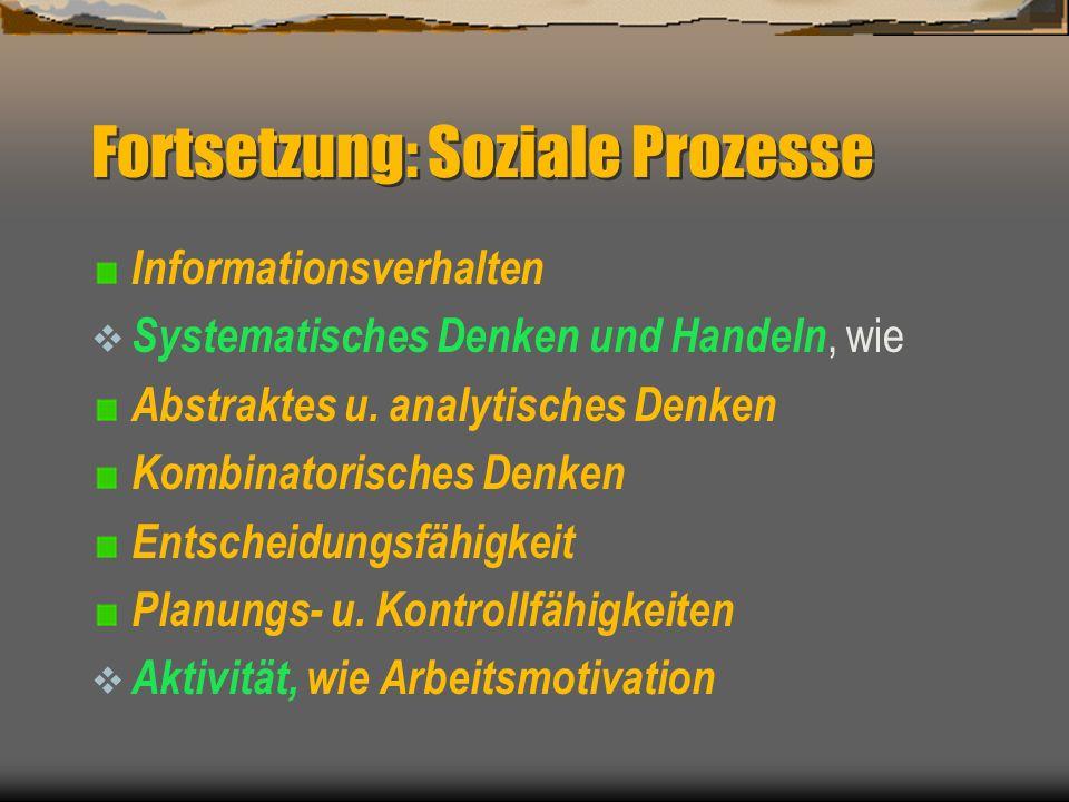Beobachtungspunkte (Ihre Performance) Soziale Prozesse, wie Kooperationsfähigkeit : Meinungen, Ideen Konfliktfähigkeit Sensibilität Kontaktfähigkeit I