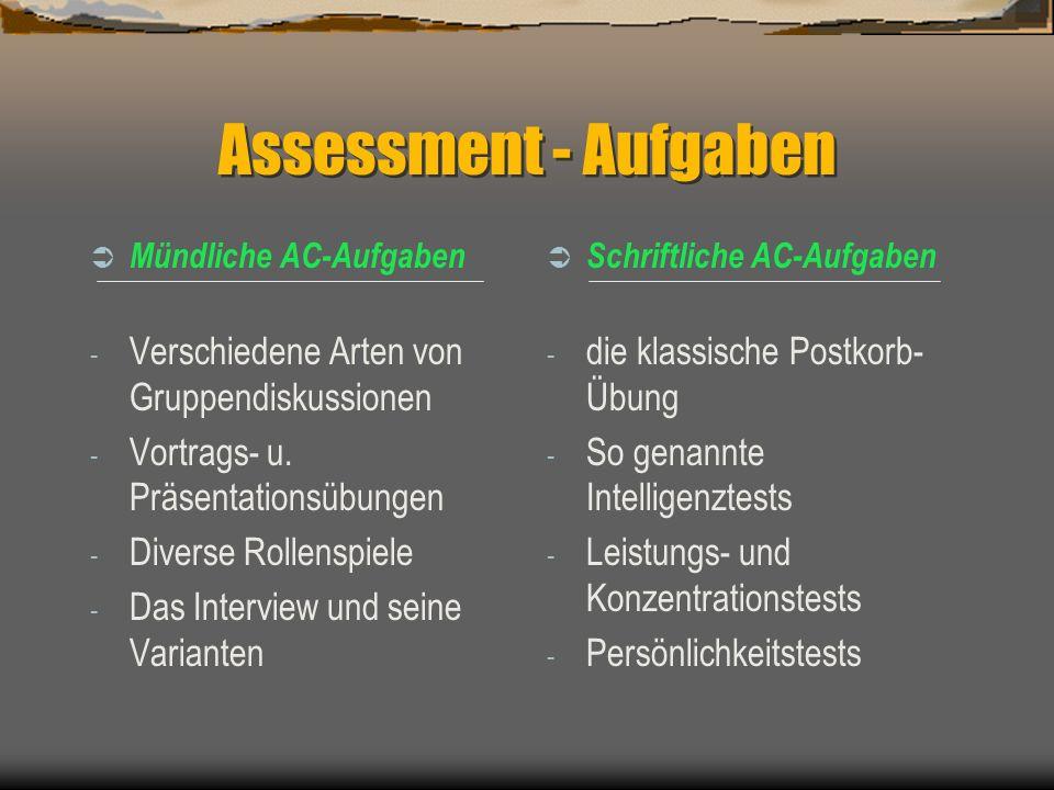 Fortsetzung: Aufgabentypen Aktivität Selbstvertrauen, Belastbarkeit, Stressresistenz Ausdrucksvermögen, wie - schriftliche und mündliche Kommunikation