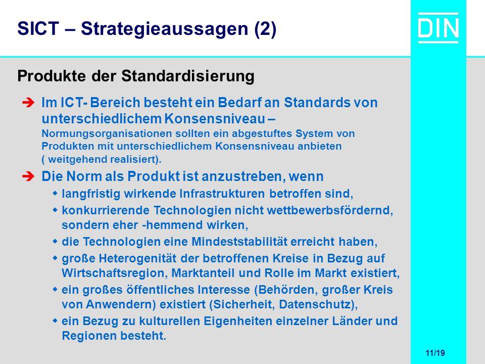 11/20 11/19 SICT – Strategieaussagen (2) Produkte der Standardisierung Im ICT- Bereich besteht ein Bedarf an Standards von unterschiedlichem Konsensni