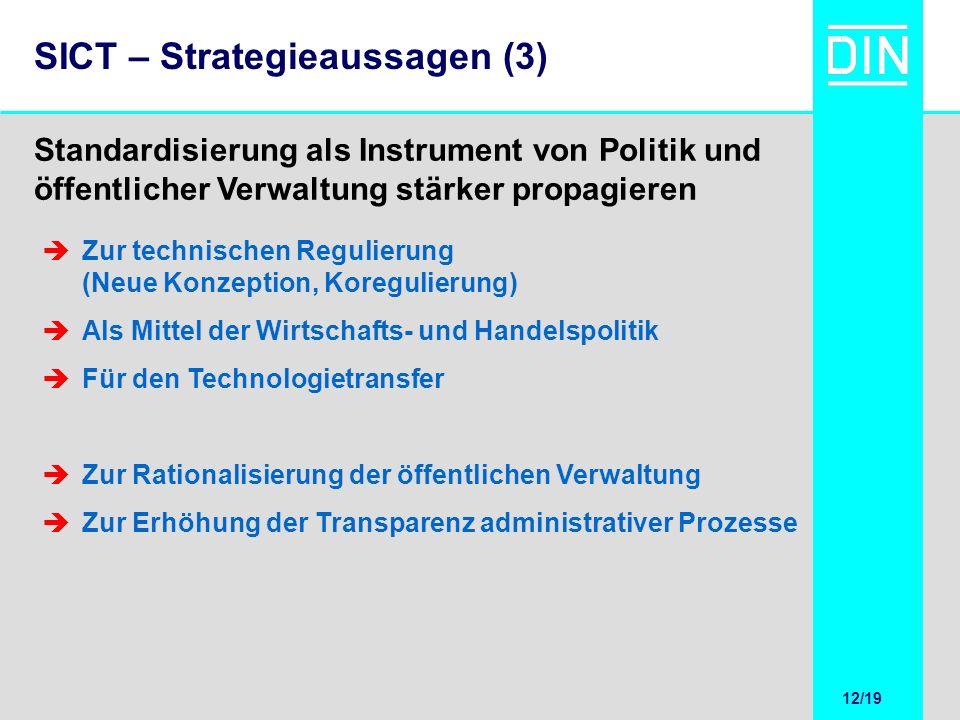 12/20 12/19 SICT – Strategieaussagen (3) Standardisierung als Instrument von Politik und öffentlicher Verwaltung stärker propagieren Zur technischen R