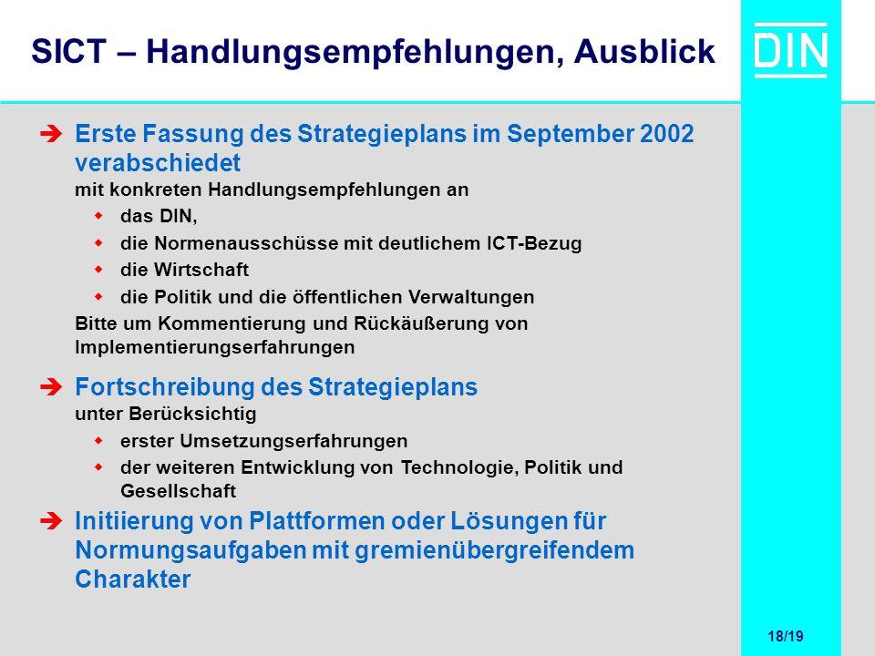 18/20 18/19 SICT – Handlungsempfehlungen, Ausblick Erste Fassung des Strategieplans im September 2002 verabschiedet mit konkreten Handlungsempfehlunge