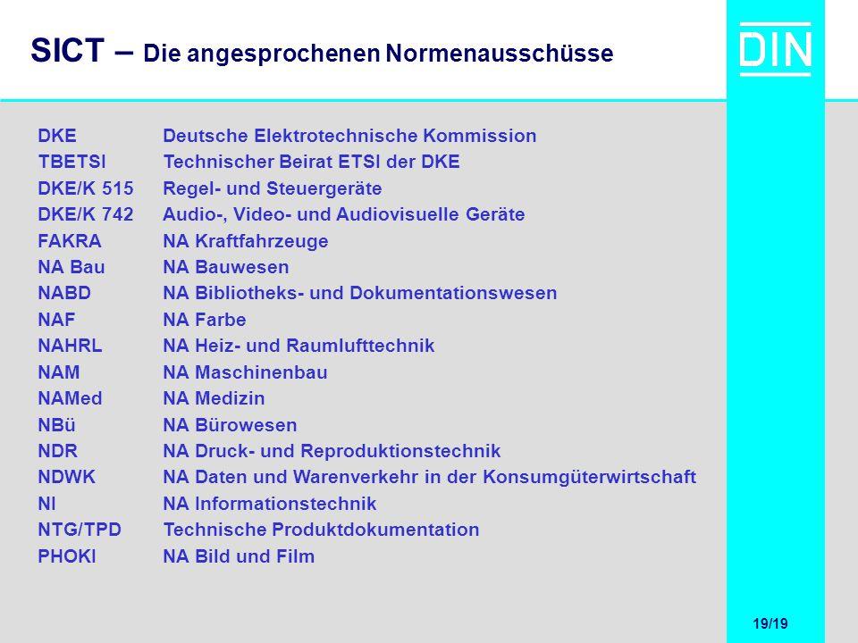 19/20 19/19 SICT – Die angesprochenen Normenausschüsse DKEDeutsche Elektrotechnische Kommission TBETSITechnischer Beirat ETSI der DKE DKE/K 515Regel-