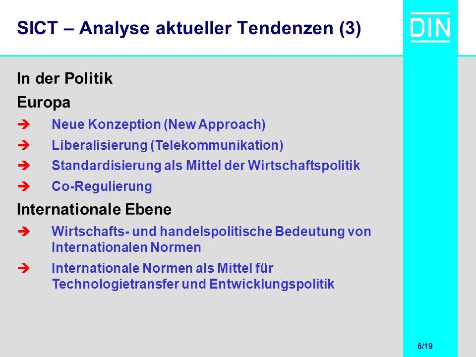 6/20 6/19 SICT – Analyse aktueller Tendenzen (3) Europa Neue Konzeption (New Approach) Liberalisierung (Telekommunikation) Standardisierung als Mittel
