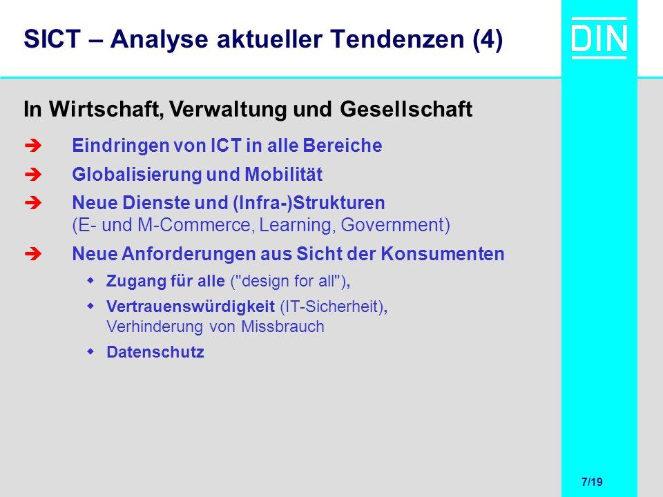 7/20 7/19 SICT – Analyse aktueller Tendenzen (4) Eindringen von ICT in alle Bereiche Globalisierung und Mobilität Neue Dienste und (Infra-)Strukturen