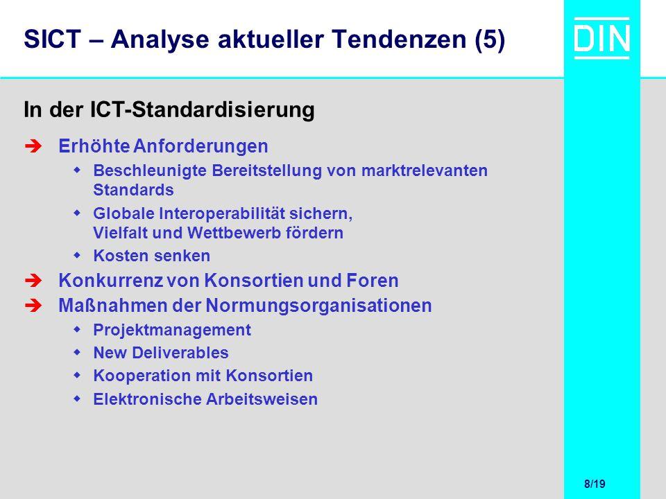 9/20 9/19 SICT – Erfahrungen der Standardisierung Ziel und Dauer des Projekts muss den Erwartungen der Beteiligten entsprechen.
